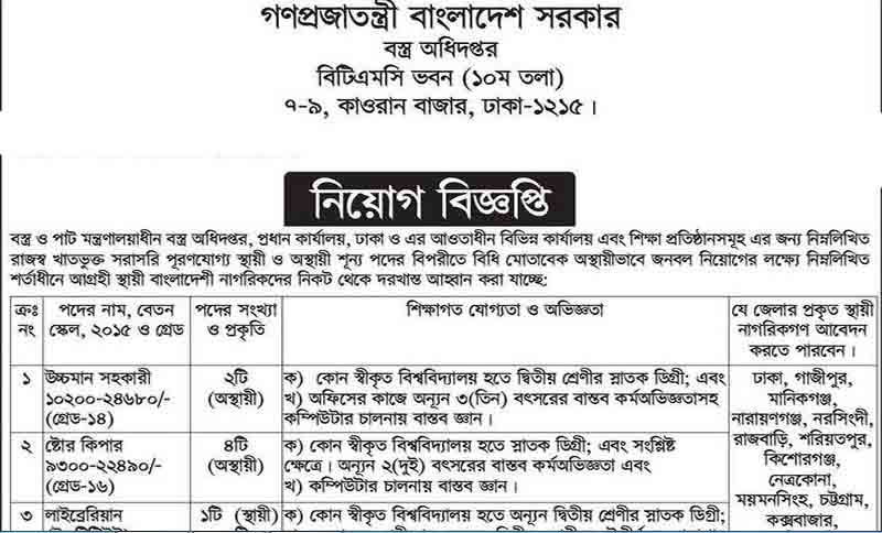 Ministry of Textile and Jute Job Circular 2018