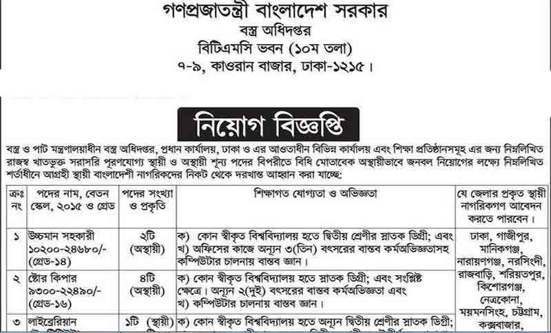 Ministry of Textile and Jute Job Circular 2018