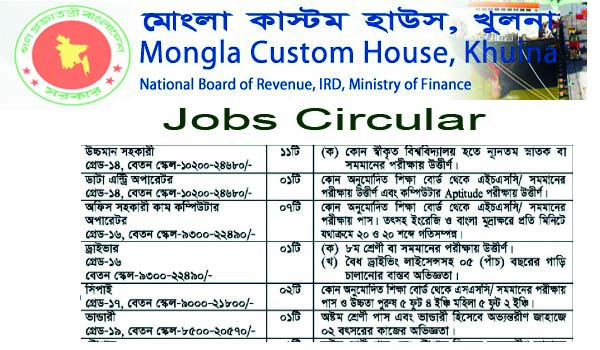 Mongla Custom House Jobs Circular 2019